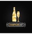 champagne bottle poly design background vector image vector image