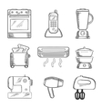 Home appliance sketched icons set vector image