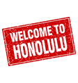 Honolulu red square grunge welcome to stamp vector image
