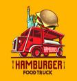 food truck hamburger burger fast delivery service vector image