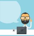 handsome bearded young hipster vector image