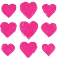 Pink acrylic color painted hearts set vector image