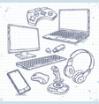 set of hand drawn icons of computer vector image