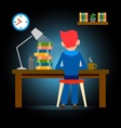 working late vector image