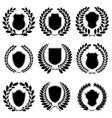 Set of heraldic black emblems vector image vector image