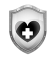 metallic shield with heart and cross vector image