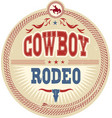 wild west rodeo label with cowboy text vector image vector image