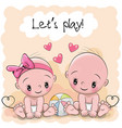 two cute cartoon babies vector image