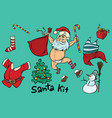 kit undressed funny santa and christmas items vector image