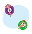young man boy and woman girl floating on vector image