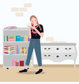 selfie girl taking photos with camera in her room vector image
