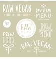 Old textured raw vegan badges vector image