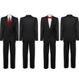 Black suit and white shirt with butterfly and tie vector image vector image