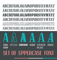 Set of uppercase narrow font vector image