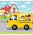 little girl waiting for schoolbus on bus stop vector image