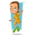 Cartoon handsome man in green flippers vector image