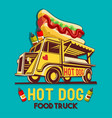 food truck hot dog fast delivery service logo vector image