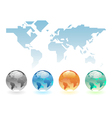 Geometric world map and globes vector image