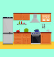 Kitchen interior with kitchen room furniture vector image