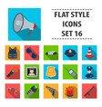police set icons in flat style big collection of vector image