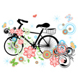 Bicycle and Floral Ornament vector image