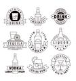 Alcohol drinks emblems badges logo set vector image vector image