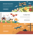 Three Horizontal Drone Banners vector image