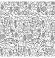 doodle vegetarian food seamless pattern vector image