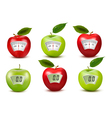 Set of apples with weight scales Diet concept vector image vector image