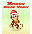 holiday card with a monkey vector image vector image
