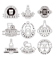 Alcohol drinks emblems badges logo set vector image