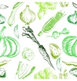 Hand drawn vegetables set on a background vector image