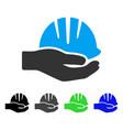 hand with helmet flat icon vector image