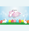 happy easter lettering with easter egg vector image