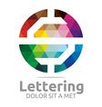 lettering s rainbow alphabet icon vector image