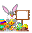 Rabbit with Easter egg and blank sign vector image