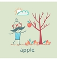 a man stands with a tree on which one apple vector image vector image