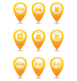 Set of 9 Transport MAP pointer yellow vector image vector image