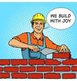 Builder pop art style vector image