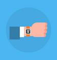 business man hand wearing digital wrist watch icon vector image