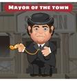 Cartoon character in Wild West - mayor in the town vector image