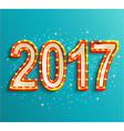 Happy new year 2017 shining retro light vector image