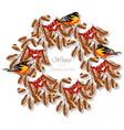 winter card viburnum wreath round card vector image