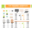 Flat workplace furniture set vector