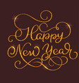 happy new year text on on brown background hand vector image