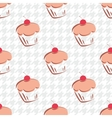 Tile background cupcake and houndstooth vector image