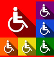 disabled sign set of icons vector image