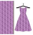 dress fabric with purple geometric pattern vector image
