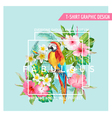 Floral Graphic Design - Tropical Flowers and Bird vector image