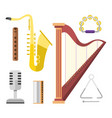 harp icon golden stringed musical instrument vector image